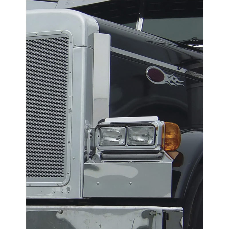 Peterbilt 379 Extended Hood Bug Shield Hood Deflector Stainless Steel
