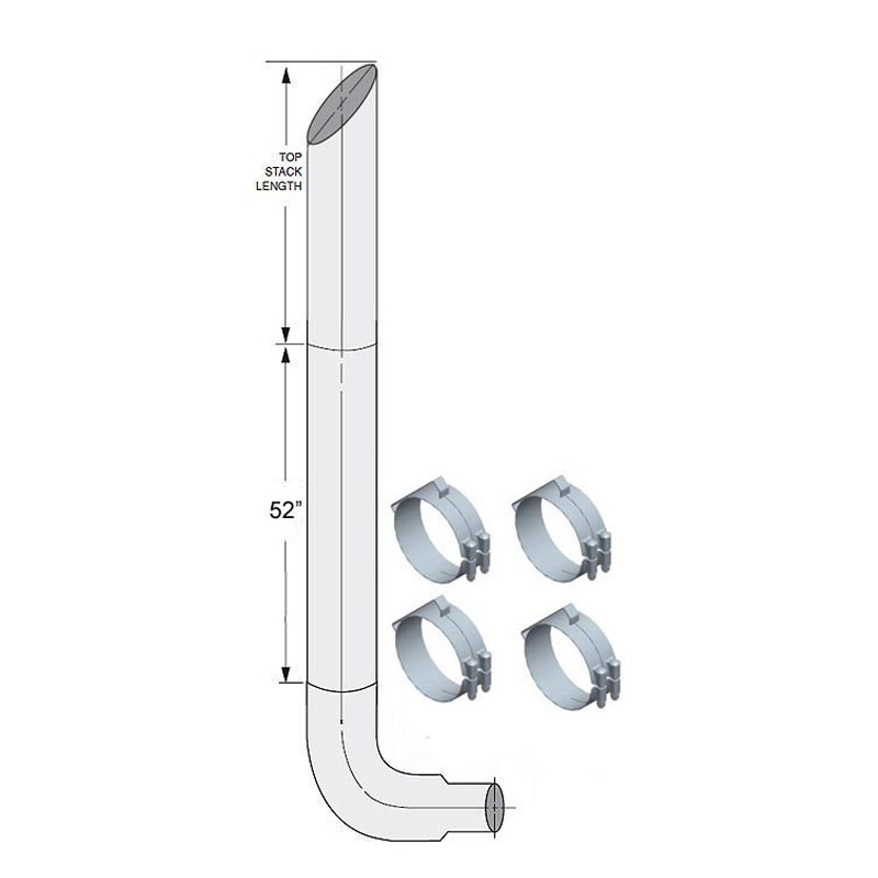 """Freightliner Classic FLD 7"""" Lincoln Exhaust Stack Kit"""