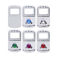 Kenworth & Peterbilt Rocker Switch Trim With Diamond - Plain, Blue, Clear, Green, Purple, Red
