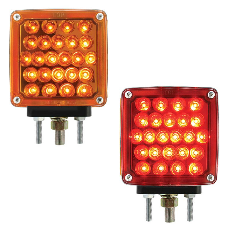 Pearl Amber/Red LED Rectangular Turn Signal By Grand General - Amber/Red Lens