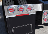 Stainless Steel Mud Flap Hangers With Flatline LED Lights & Red Lens