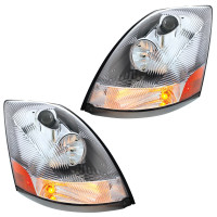 Chrome Volvo VNL Headlights - Driver and Passenger Lit