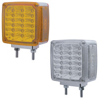 39 LED Square Double Face Turn Signal With Side LED Double Stud Amber Lens And Clear Lens