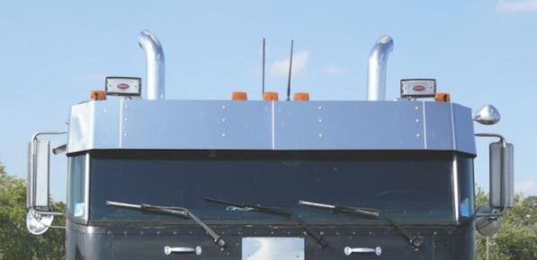 Peterbilt 362 Cabover Drop Visor With Dual Spotlight Cutouts