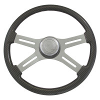 "Grey Carbon Fiber 18"" Steering Wheel"