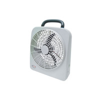 "RoadPro 10"" 12 Volt Or Battery Dual Power Portable Fan Front View"