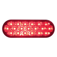 "6"" Oval STT & PTC LED Light With Reflector - Red"