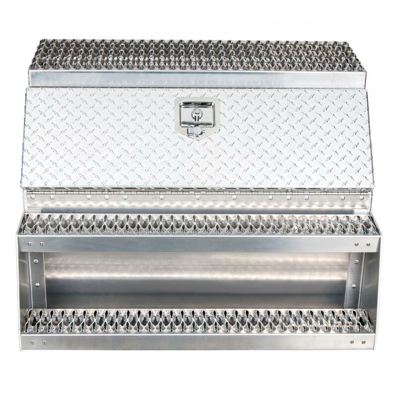"36"" Diamond Plate Aluminum Saddle Tool Box With Step"