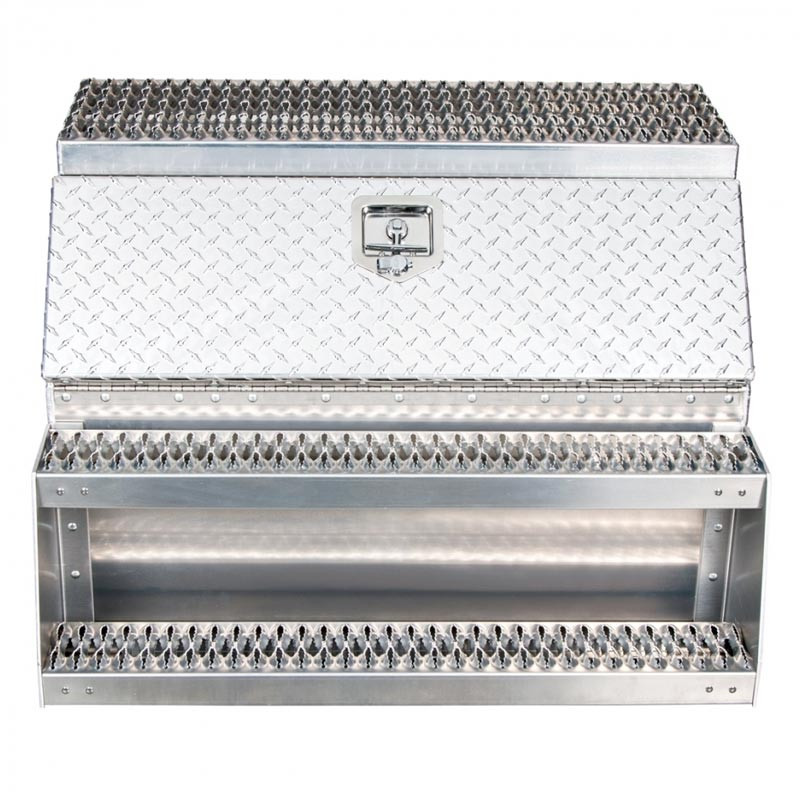 "36"" Diamond Plate Aluminum Saddle Tool Box With Step"