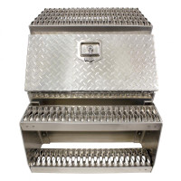 "24"" Diamond Plate Aluminum Saddle Tool Box With Step"