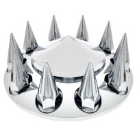 Chrome Front Axle Cover With Pointed Removable Hubcap