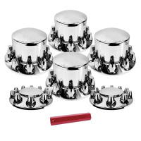 Complete Chrome Axle Cover Kit with 33mm Lug Nuts And Tool