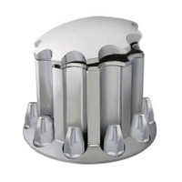 Chrome Rear Axle Wheel Cover Set With Round Hubcap & Lug Nut Covers By Grand General