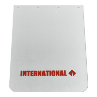 "White Poly Mudflap With Red International Logo 24"" x 30"""