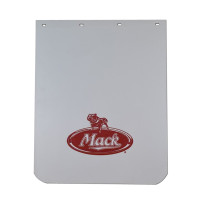 "White Poly Mud Flap With Red Mack Logo 24"" x 30"""