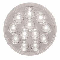 "4"" Mirror White Round Back-Up LED Light On"