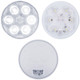 "6 LED 4"" Round Back-Up Light - Front Lit Up, Front Unlit and Back View"