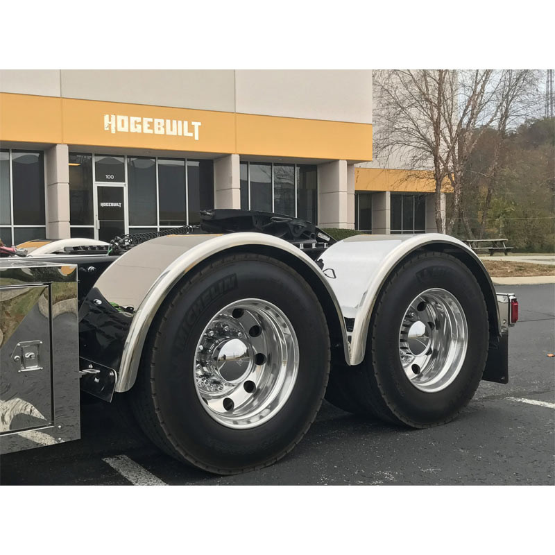 """Hogebuilt 80"""" Stainless Steel Single Axle Fenders On Truck Front Angle View"""