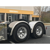 "Hogebuilt 80"" Stainless Steel Single Axle Fenders On Truck Front Angle View"