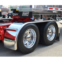 "Hogebuilt Stainless Steel 143"" Full Tandem Low Rider Fenders On Truck Front View"