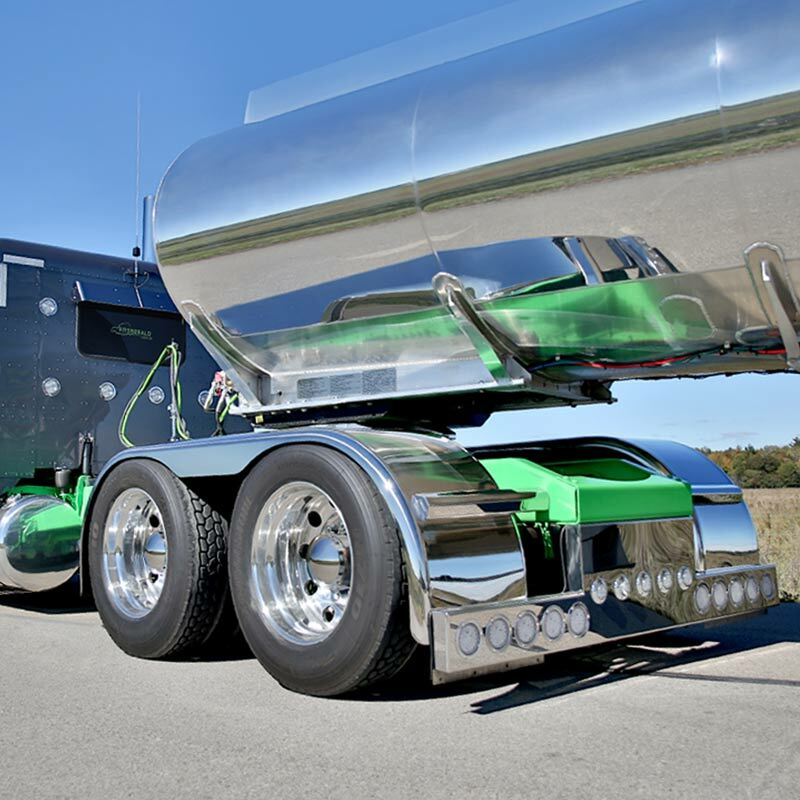 "Hogebuilt Stainless Steel 143"" Flanged Low Rider Full Tandem Fenders On truck"