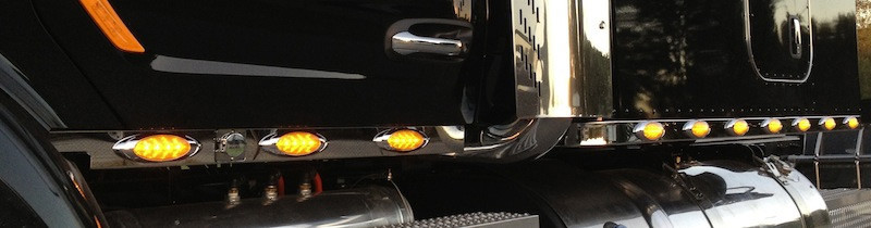 Peterbilt 579 Stainless Steel Cab Panels Close Up