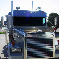 "Freightliner Classic 13"" Visor with LED lights On Truck"