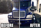 Freightliner Century Headlights Close Up On Truck - Before and After