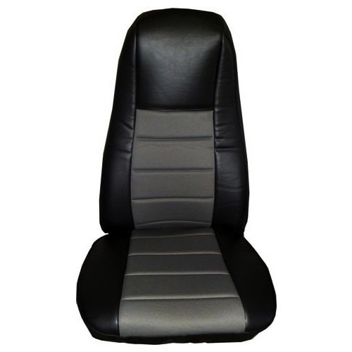 Black Vinyl Seat Cover With Dark Gray Fabric & Pocket