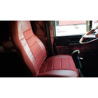 Burgundy Vinyl Seat Cover With Fabric On Truck