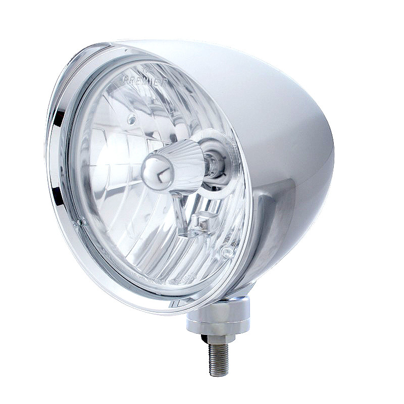 CHOPPER Billet Style Round Chrome Headlight With Crystal H4 Bulb And Smooth Visor