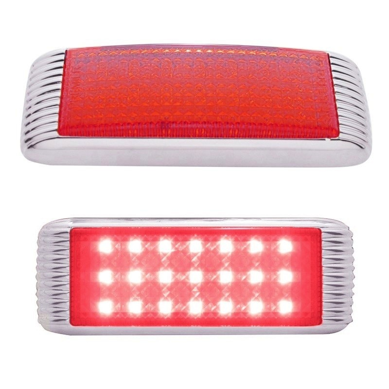Red LED Flush Mount STT & PTC Light With Bezel