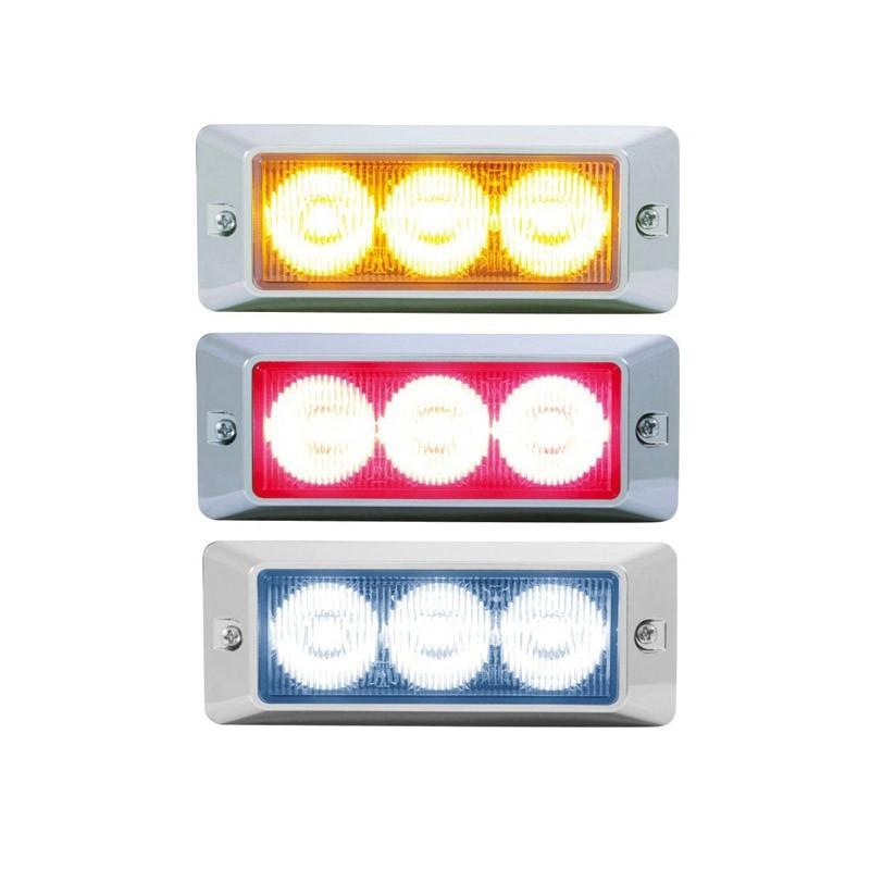 LED Strobe Warning Light With Chrome Bezel