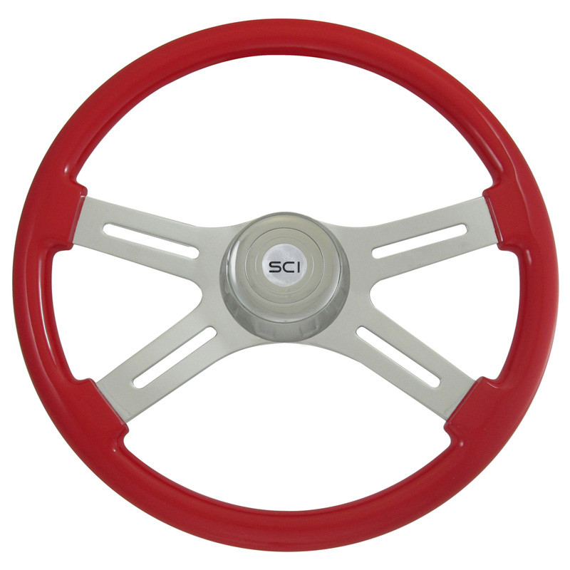 "18"" Classic Viper Red Steering Wheel With Chrome Bezel"