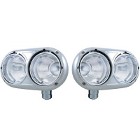 Peterbilt 359 Style Stainless Dual Round Headlight Housing