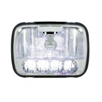 "5"" x 7"" High Power LED High & Low Beam Crystal Headlight With High Beams On"