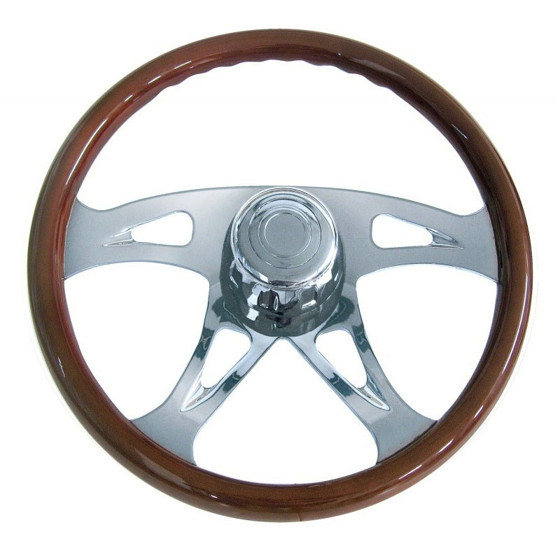 18Š— Mahogany 4 Chrome Spoke Boss Steering Wheel With Hub