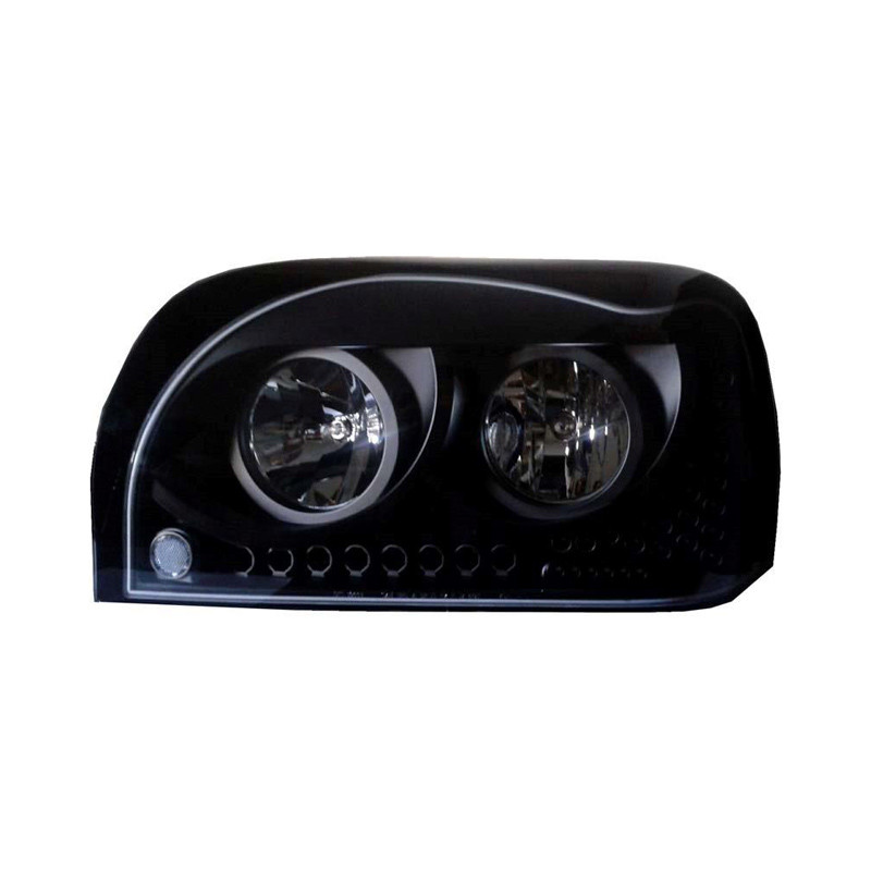 Freightliner Century Headlights Blacked Out with LEDs Driver Side