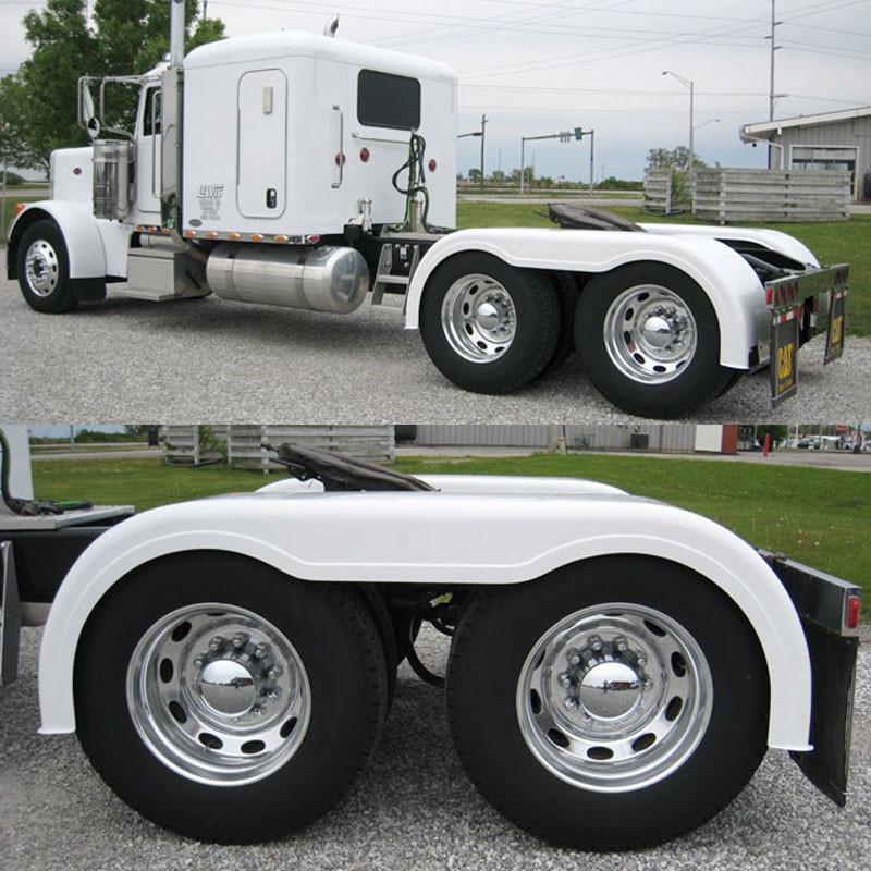 Truck Fender Brackets : Semi truck quot fiberglass full fender set with brackets