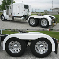 "Semi Truck 103"" Fiberglass Full Fender Set With Brackets Painted White"