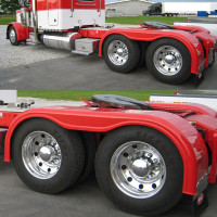 "Semi Truck 101"" Fiberglass Full Fender Set With Brackets Painted Red"