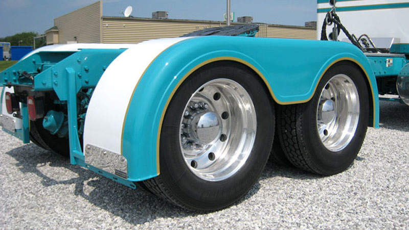 For A Semi Tractor Fenders : Semi truck fiberglass low cut full fender set with