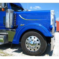 Peterbilt 379 Ribbed Fiberglass Front Fender Set Painted Blue Side View
