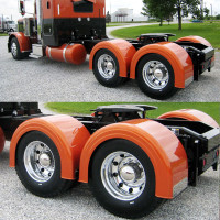 Semi Truck Fiberglass Super Single Single Axle Fender Set Painted Orange