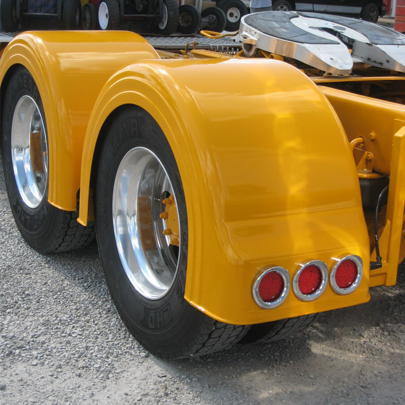 For A Semi Tractor Fenders : Semi truck fiberglass single axle fenders with light holes