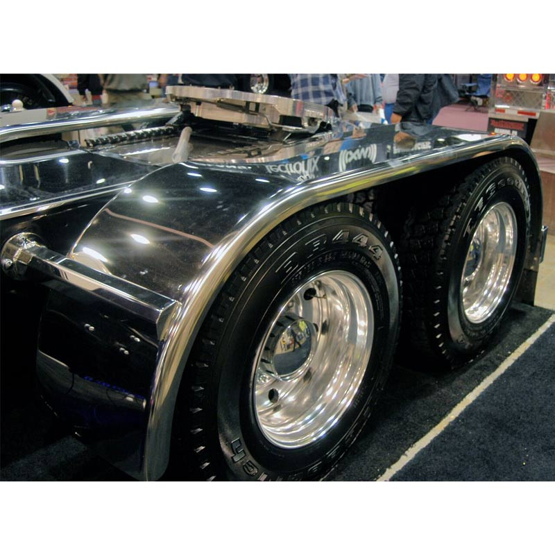 "Hogebuilt Stainless Steel 133"" Value Line Full Tandem Fenders On Truck"