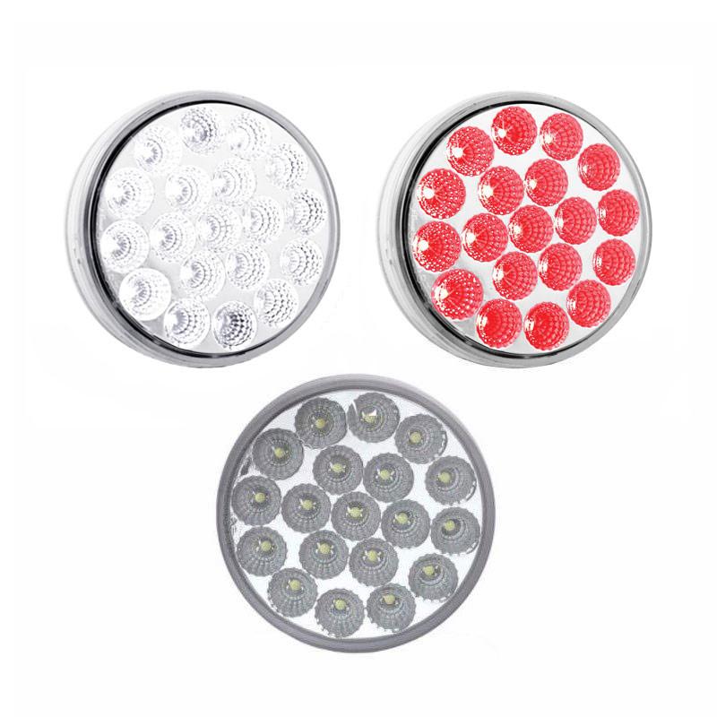 4'' Round Dual Revolution Red & White STT/Reverse Combo Light