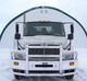 International 4300 4400 With Air Ride SBA Herd 2 Post Defender Bumper Grill Guard With Horizontal Bars On Truck