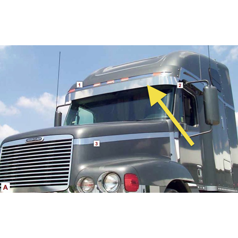 "Freightliner Century Columbia 5"" Visor Extension 2003 & Earlier Pointed Out"