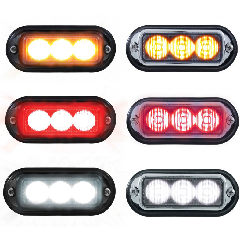LED Strobe Warning Light With And Without Chrome Bezel